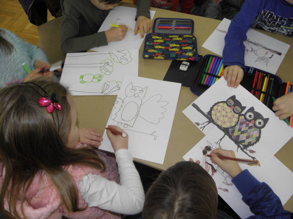 Djeca iz đurđevačkog vrtića crtaju sove