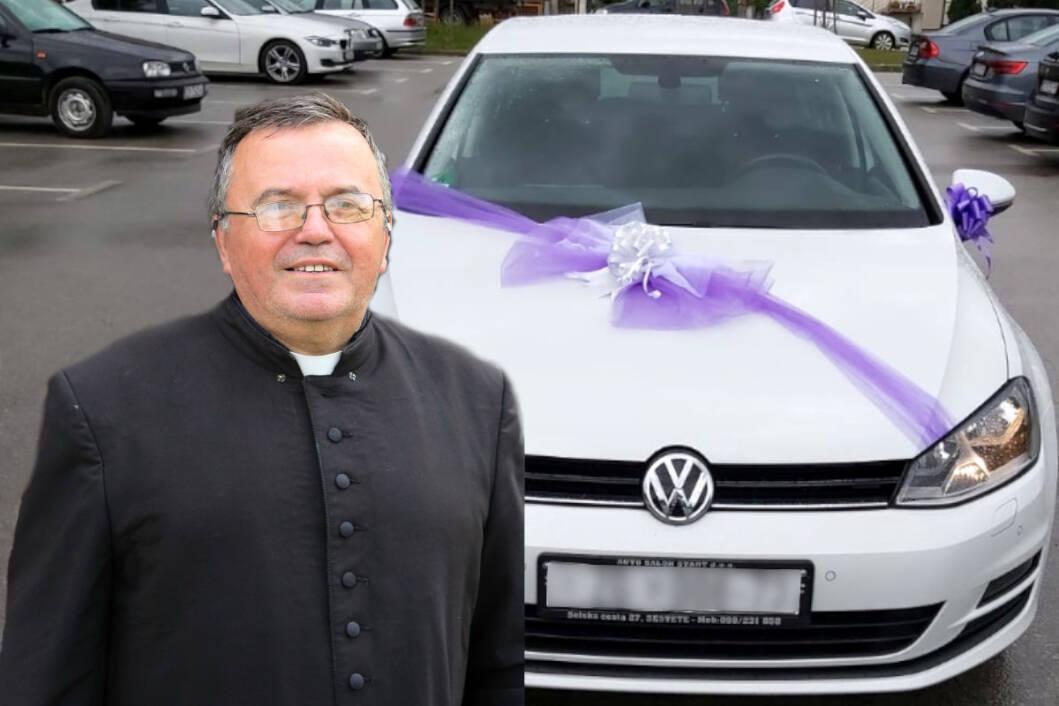 Marijan Piskač, župnik u Resniku, i automobil koji su mu darovali vjernici