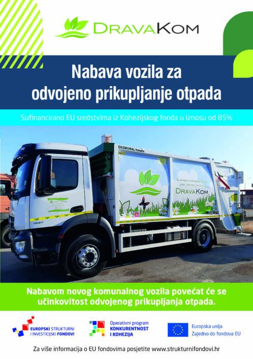 Novo komunalno vozilo poduzeća Drava Kom d.o.o. nabavljeno sredstvima Kohezijskog fonda