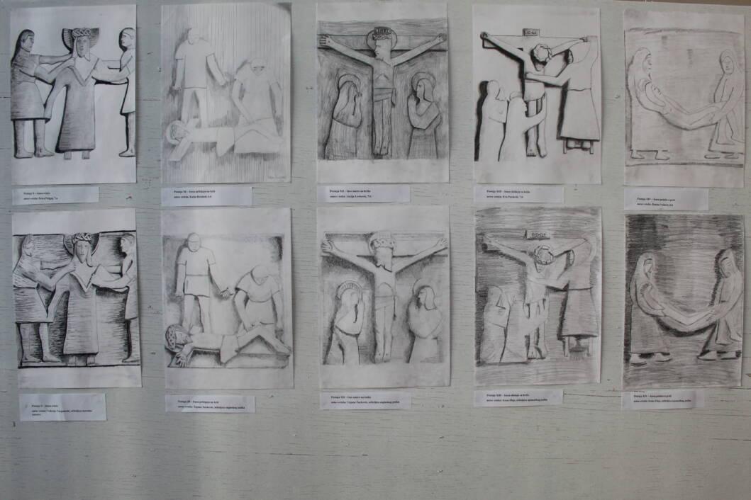 Crteži križnog puta učenika i učitelja Osnovne škole Gola